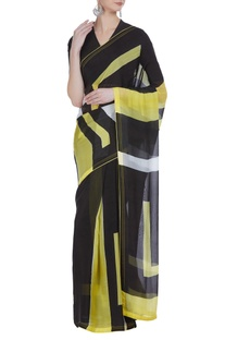 Geometric hand painted sari with unstitched blouse