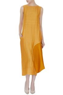 Dusky orange satin linen & tussar georgette solid midi dress