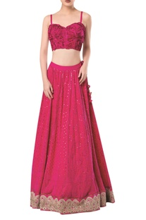 Spaghetti sleeves blouse with lucknowi embroidered lehenga