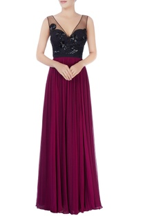 Black & purple sequin embellished gown