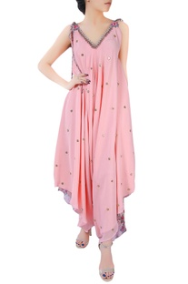 Pink crepe silk dhoti style jumpsuit