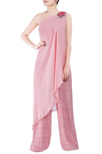 Pink bugle bead hand-embroidered jumpsuit with asymmetric drape layer