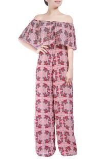 Multicolored floral printed off-shoulder jumpsuit