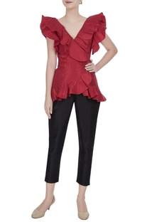 Red taffeta overlapping frill wrap blouse