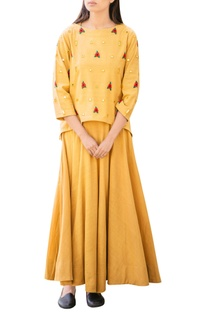 Yellow mirror work dress with top