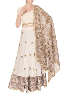 Off-white zardozi embroidered lehenga set