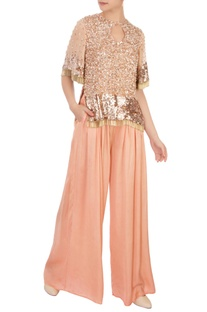 Peach sequin embroidered top with palazzos