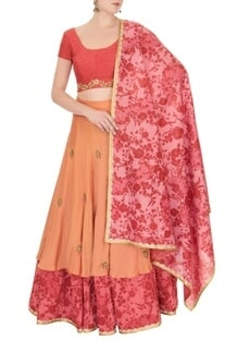 Red & orange reversible lehenga set