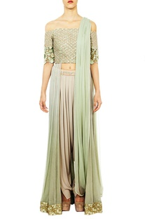 Off shoulder mint embroidered anarkali set