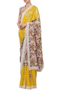 Crepe silk sequin & floral hand painted sari set