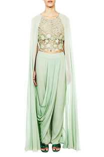 Aqua embroidered cape blouse with�draped trousers