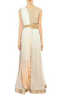 Off white embroidered jumpsuit with attached dupatta