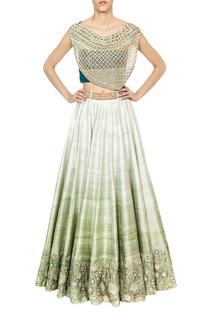 Off shoulder embellished blouse with mint ombre lehenga