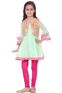 Green chanderi & viscose embroidered anarkali and churidar
