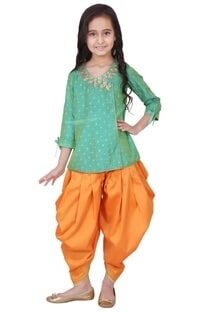Green & orange tafetta, banarasi silk & artificial silk gota patti kurta with salwar pants