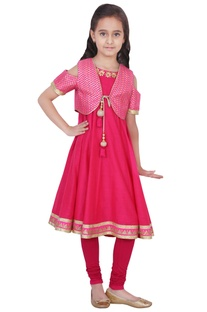 Fuschia chanderi & lycra solid anarkali and churidar