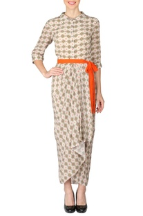 Off white, coral & beige printed dhoti dress