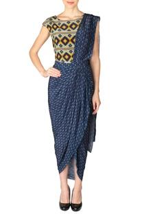 Cobalt blue & yellow aztec draped sari dress