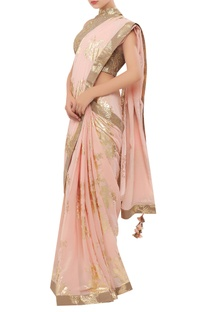 Crepe silk foil printed sari with halter blouse