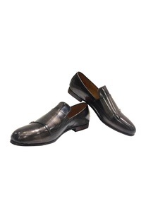 Metallic handcrafted pure leather loafers
