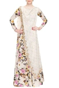 Ivory floral print and mirror work anarkali
