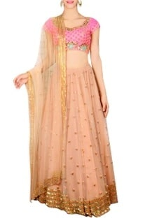 Jaipuri pink & coral embellished lehenga set