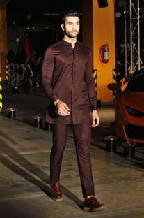 Brown silk kurta shirt & trouser set