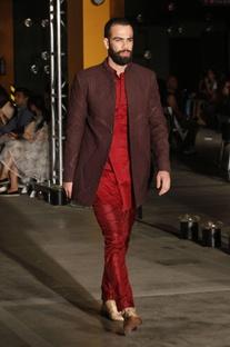 Cocoa sherwani jacket, red kurta & churidar