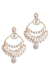 Pearls & crystals laurel drop earrings