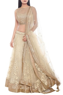 Beige & gold thread embroidered wedding lehenga set