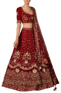 Floral Motif Embroidered Lehenga Set