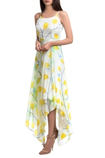 White & yellow hand-painted floral maxi asymmetric dress