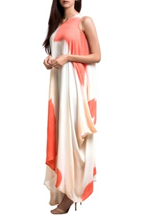 White & coral georgette one-shoulder draped dress