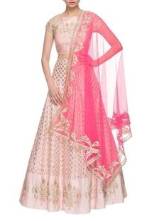 Light pink & hot pink brocade embroidered lehenga set