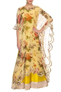 Light yellow printed kaftan with mustard embroidered lehenga