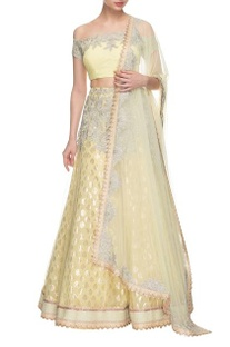 Light yellow & silver embroidered lehenga set