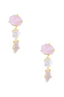 Light pink, ivory beige semi-precious stone earrings