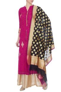 Magenta silk kotta embroidered kurta, palazzo and dupatta