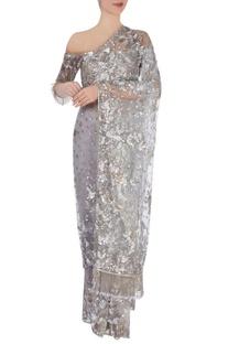 Grey embellished sari & blouse
