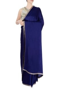 Royal blue sari with tasseled blouse