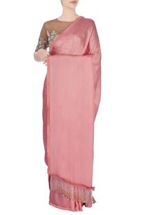 Rose pink embellished sari & blouse
