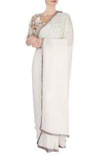 Ivory embellished sari with beige blouse