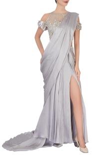Grey sari & embellished blouse