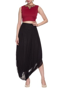 Maroon embellished crop top with cowl skirt