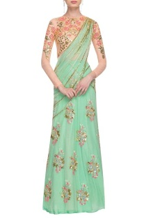 Mint green & cream floral sequined lehenga set