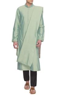 Mint green draped kurta set
