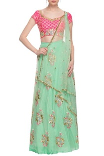 Mint green & pink floral embroidered lehenga set