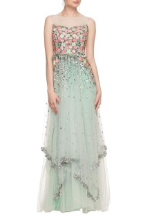 Mint green tulle embroidered gown with sheer back detail.