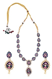 Meenakari kundan necklace with earrings
