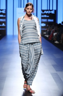 Grey striped jumpsuit